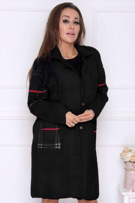 Płaszcz modny długi z alpaki czarny