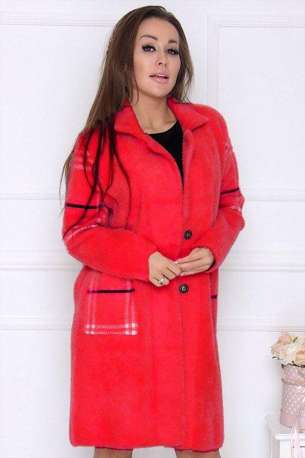 Płaszcz modny długi z alpaki czerwony