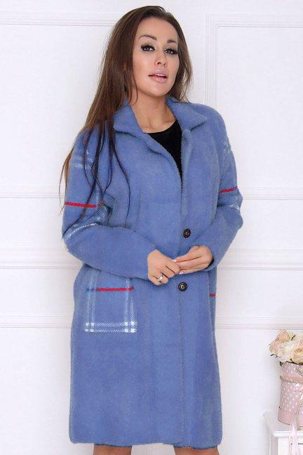 Płaszcz modny długi z alpaki niebieski
