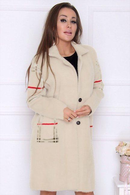 Płaszcz modny długi z alpaki ecru