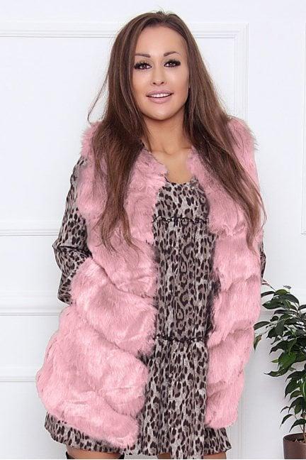 Kamizelka damska narzutka futro różowa
