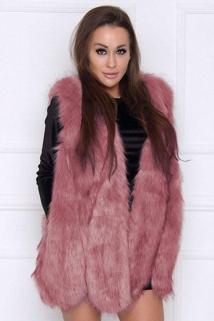 Kamizelka damska ciepła futerko różowa