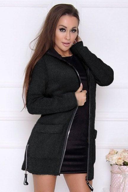 Płaszcz damski z kapturem alpaka czarny