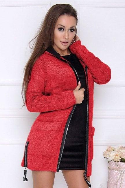Płaszcz damski z kapturem alpaka czerwony
