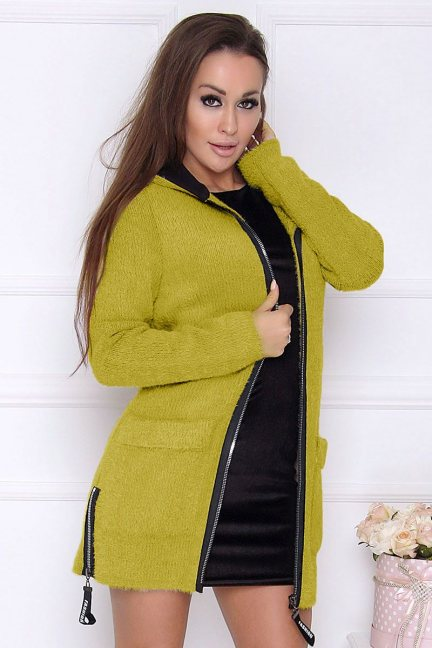 Płaszcz damski z kapturem alpaka limonka