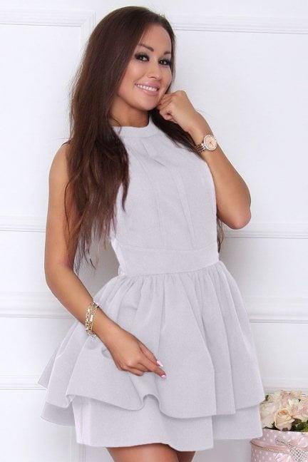 Sukienka elegancka rozkloszowana szara