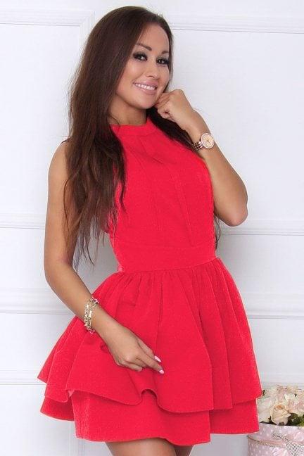 Sukienka elegancka rozkloszowana czerwona