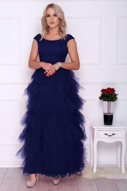 Sukienka elegancka maxi falbanki granatowa