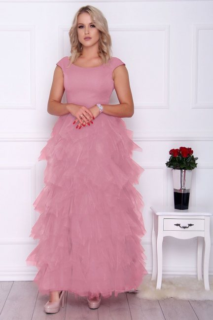 Sukienka elegancka maxi falbanki różowa