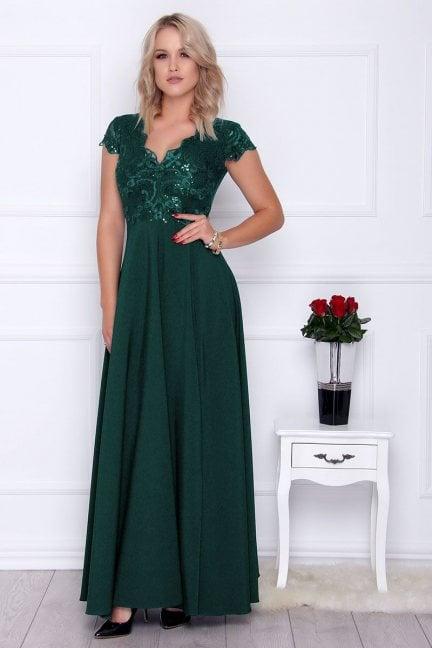 Sukienka modna maxi z koronką zielona