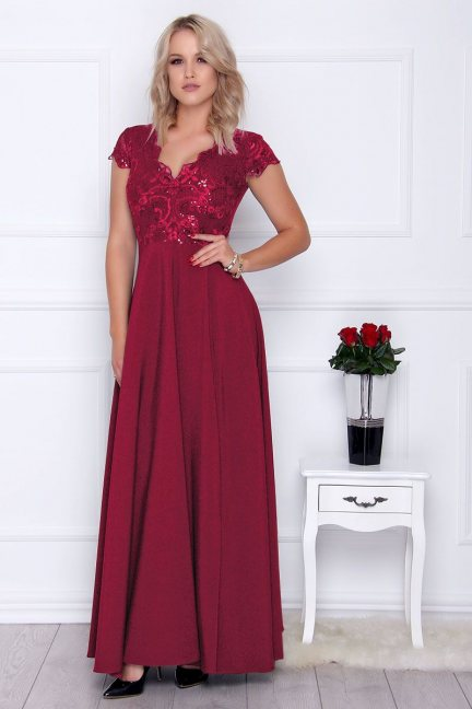 Sukienka modna maxi z koronką bordowa