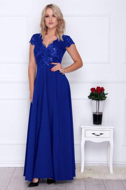 Sukienka modna maxi z koronką chabrowa
