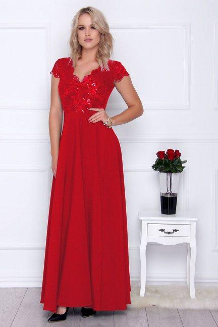 Sukienka modna maxi z koronką czerwona