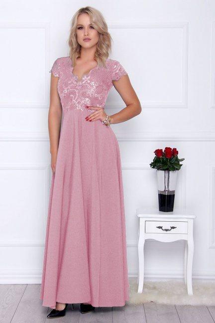 Sukienka modna maxi z koronką różowa