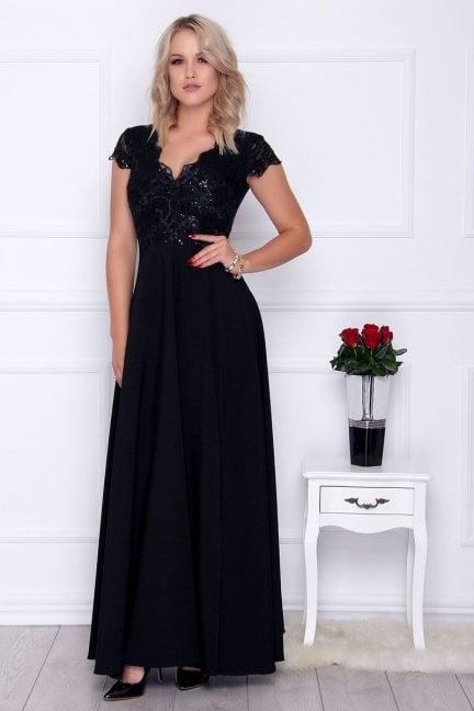 Sukienka elegancka maxi dekolt czarna