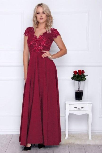 Sukienka elegancka maxi dekolt bordowa