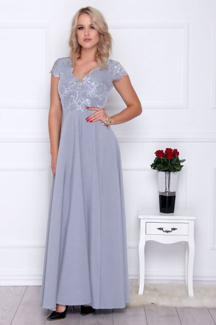 Sukienka elegancka maxi dekolt szara