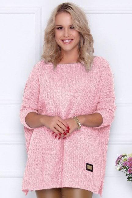 Sweter damski oversize ciepły różowy