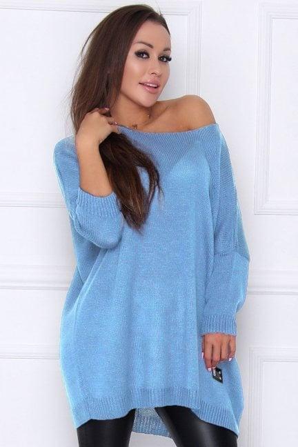 Sweter oversize ażurowy niebieski