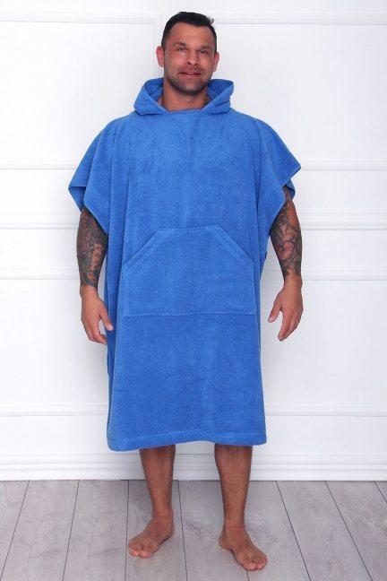 Szlafrok męski z kieszenią niebieski