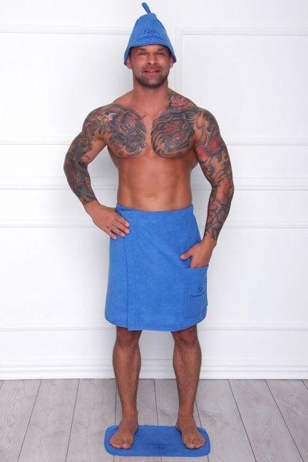 Dywanik bawełniany do sauny niebieski