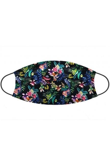 Maska wielorazowa nadruk kwiatki czarna