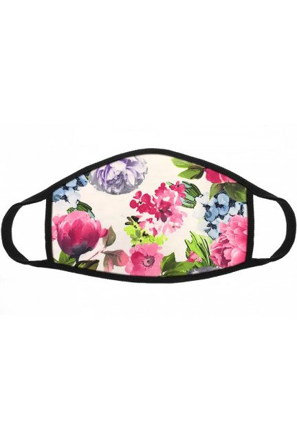 Maska wielorazowa wzór kwiatki różowa