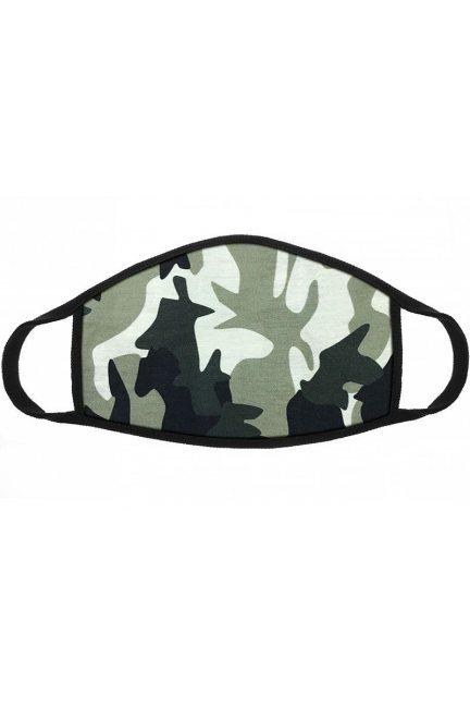Maska sportowa z nadrukiem moro zielona