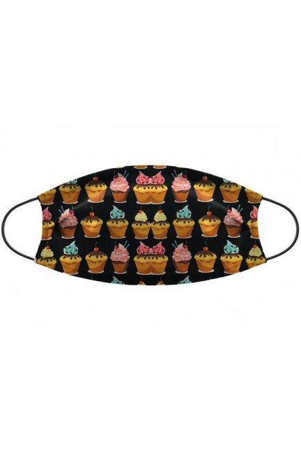 Maska wielorazowa wzór babeczki czarna