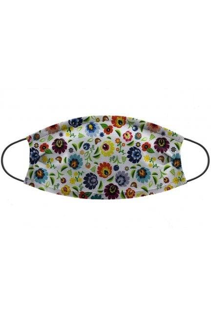 Maska wielorazowa nadruk kwiatki biała
