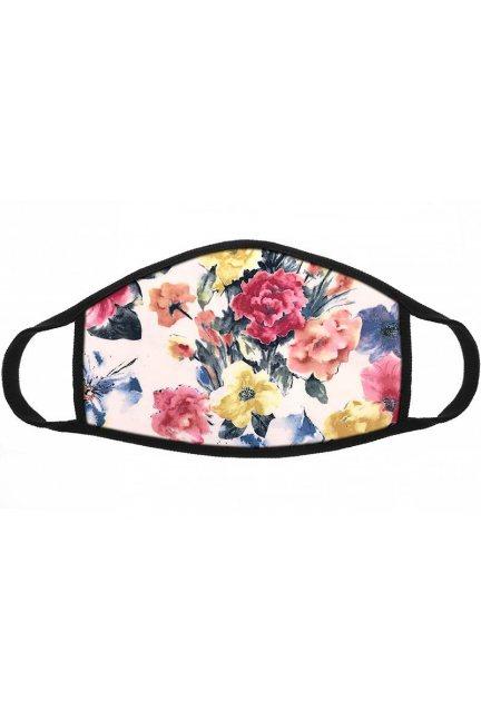 Maska dziecięca nadruk kwiatków różowa