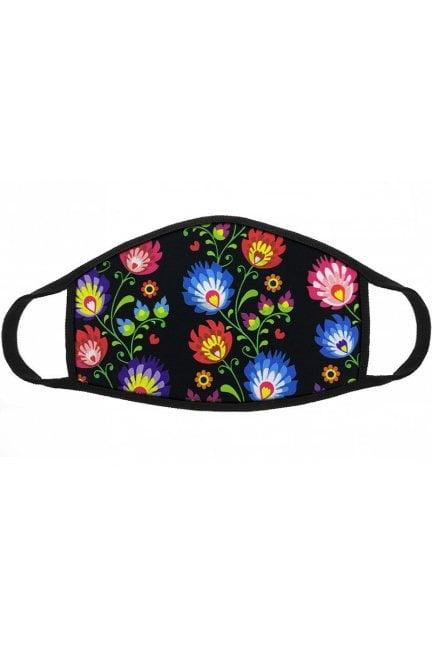Maska sportowa kolorowe kwiatki czarna