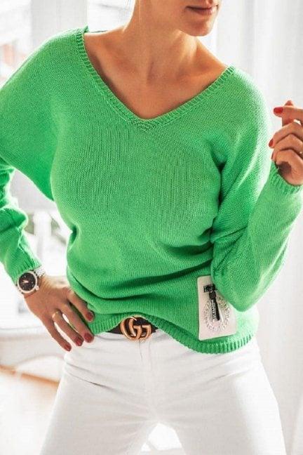 Sweter oversize z szelkami zielony