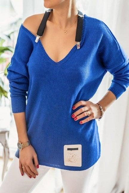 Sweter oversize z szelkami chabrowy