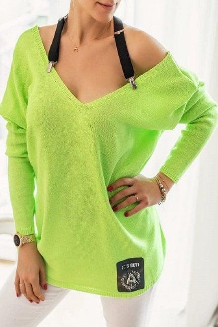 Sweter oversize z szelkami limonka
