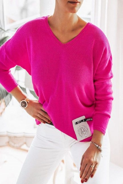 Sweter oversize z szelkami fuksja