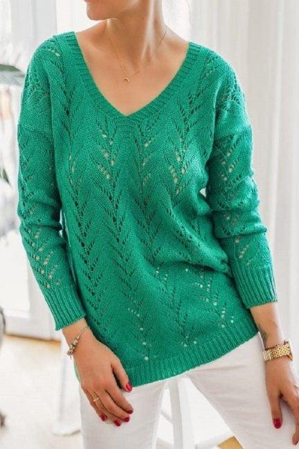 Sweter damski ażurowy dekolt zielony