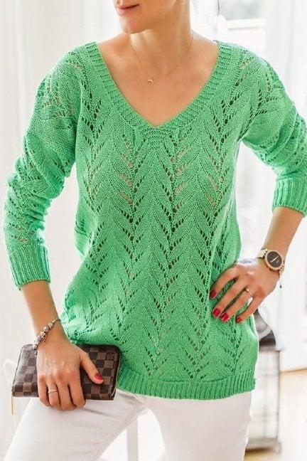 Sweter damski ażurowy dekolt jasnozielony