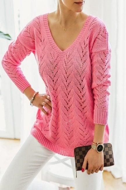 Sweter damski ażurowy dekolt malinowy