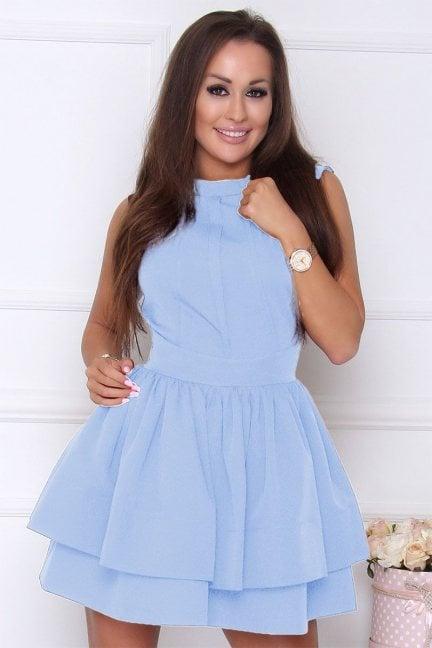 Sukienka elegancka rozkloszowana błękitna