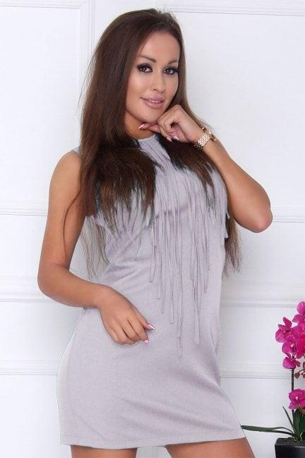 Sukienka modna z frędzlami szara