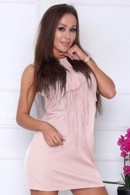 Sukienka modna z frędzlami pudrowy róż