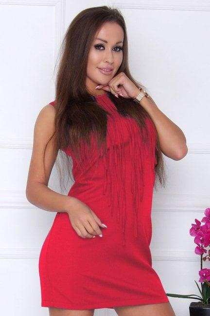 Sukienka modna z frędzlami fuksja