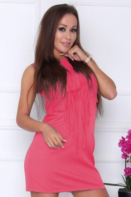 Sukienka modna z frędzlami koralowa