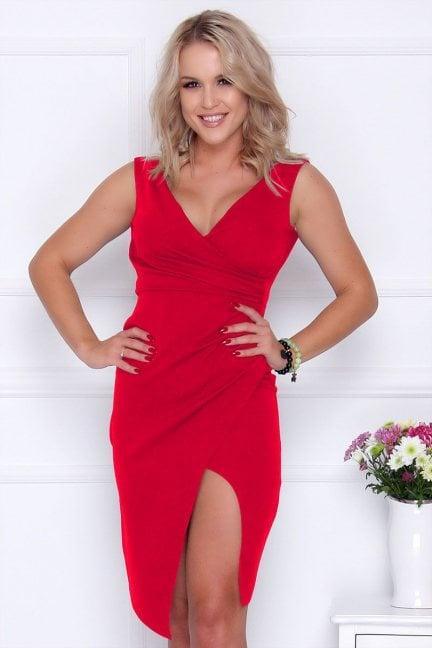 Sukienka dopasowana z dekoltem czerwona