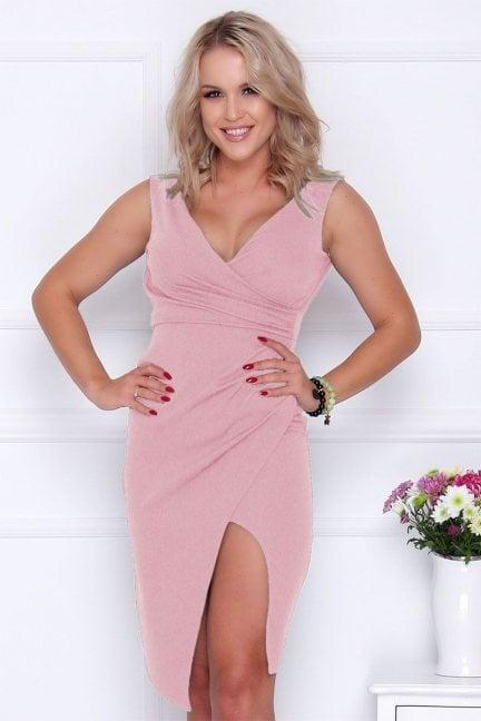 Sukienka ołówkowa midi rozporek różowa