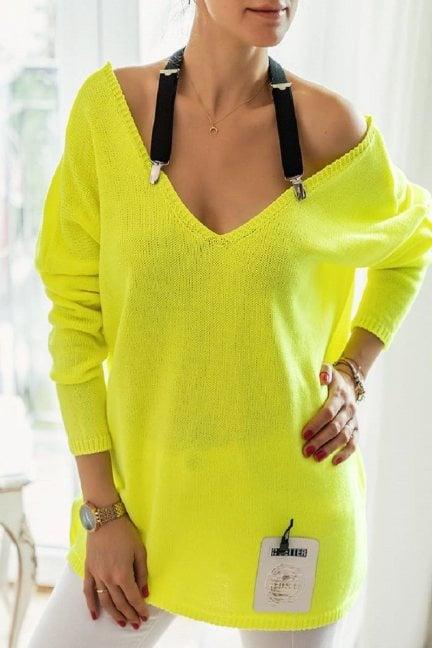 Sweter oversize z szelkami neon żółty
