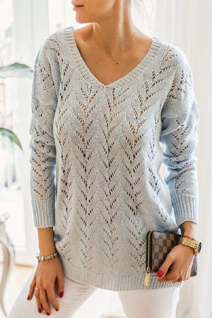 Sweter damski ażurowy dekolt błękitny