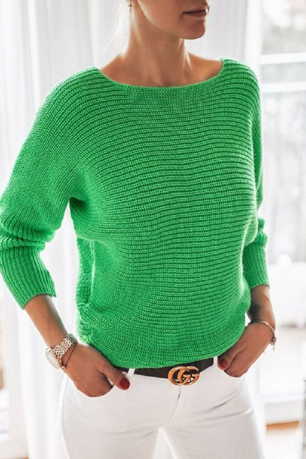 Sweter modny oversize damski zielony