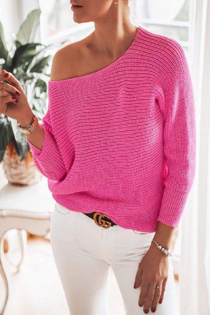 Sweter modny oversize damski różowy